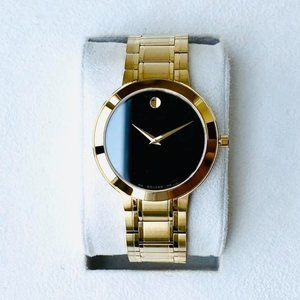 Movado 40mm Gold Plated Men's Watch! Stunning!